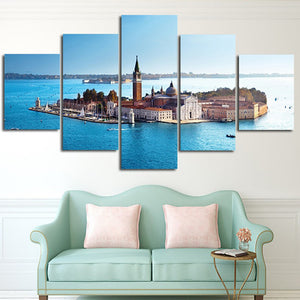 Island Around By Ocean 5 Panels Wood N Canvas Wall Art Paintings