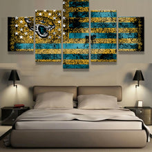Load image into Gallery viewer, Jacksonville Jaguars Sports Flag Logo 5 Panels Wood N Canvas Wall Art Paintings