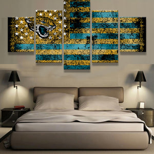 Jacksonville Jaguars Sports Flag Logo 5 Panels Wood N Canvas Wall Art Paintings