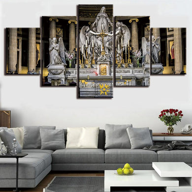 Jesus Christian Church 5 Panels Wood N Canvas Wall Art Paintings
