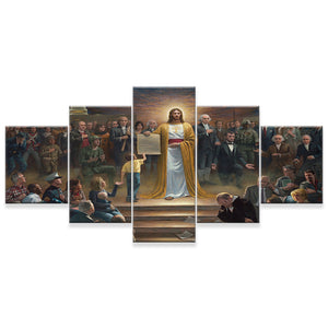 Jesus Message 5 Panels Wood N Canvas Wall Art Paintings