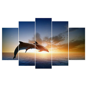 Jumping Dolphins 5 Panels Wood N Canvas Wall Art Paintings