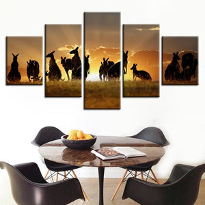 Kangaroos Sunset 5 Panels Wood N Canvas Wall Art Paintings