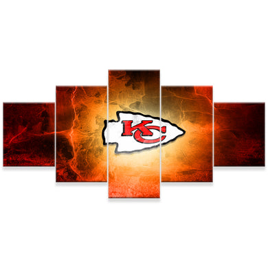 Kansas City Chiefs 5 Panels Wood N Canvas Wall Art Paintings
