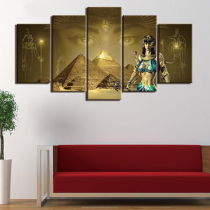 Khufu Pyramid Abstract 5 Panels Wood N Canvas Wall Art Paintings