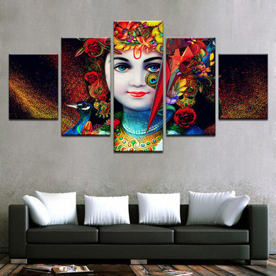 Krishna Color Splash 5 Panels Wood N Canvas Wall Art Paintings