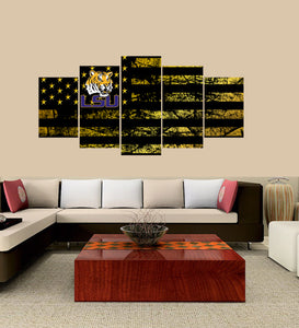 LSU Tigers logo 5 Panels Wood N Canvas Wall Art Paintings