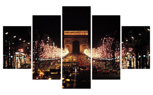 L'Arc De Triomphe 5 Panels Wood N Canvas Wall Art Paintings