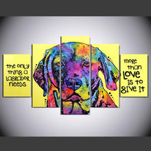 Load image into Gallery viewer, Labrador love 5 Panels Wood N Canvas Wall Art Paintings
