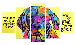 Labrador love 5 Panels Wood N Canvas Wall Art Paintings