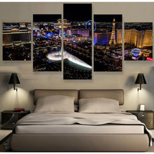 Load image into Gallery viewer, Las Vegas Nightscape 5 Panels Wood N Canvas Wall Art Paintings