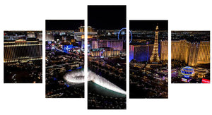 Las Vegas Nightscape 5 Panels Wood N Canvas Wall Art Paintings