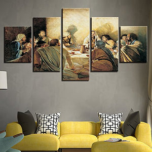 Last Supper 5 Panels Wood N Canvas Wall Art Paintings