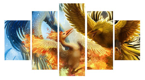 Legendary Pokemon 5 Panels Wood N Canvas Wall Art Paintings