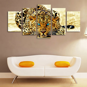 Leopards 5 Panels Wood N Canvas Wall Art Paintings