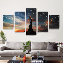 Load image into Gallery viewer, Liberty Flag 5 Panels Wood N Canvas Wall Art Paintings