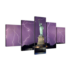 Liberty Lightning 5 Panels Wood N Canvas Wall Art Paintings