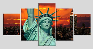 Liberty Sunset 5 Panels Wood N Canvas Wall Art Paintings