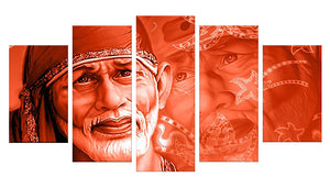 Life is a dream - Sai Baba 5 Panels Wood N Canvas Wall Art Paintings