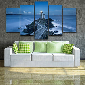 Lighthouse 5 Panels Wood N Canvas Wall Art Paintings