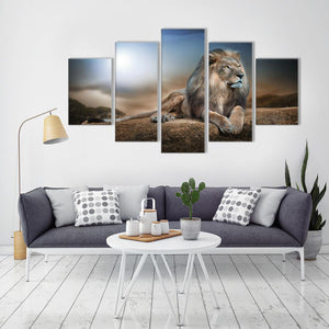 Lion 5 Panels Wood N Canvas Wall Art Paintings