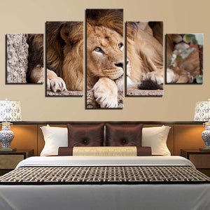 Lion Abstract 5 Panels Wood N Canvas Wall Art Paintings