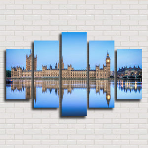 London City And Lake 5 Panels Wood N Canvas Wall Art Paintings