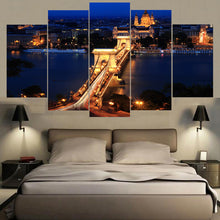 Load image into Gallery viewer, London Famous Bridge Night 5 Panels Wood N Canvas Wall Art Paintings