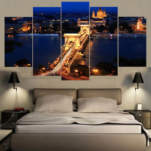 London Famous Bridge Night 5 Panels Wood N Canvas Wall Art Paintings