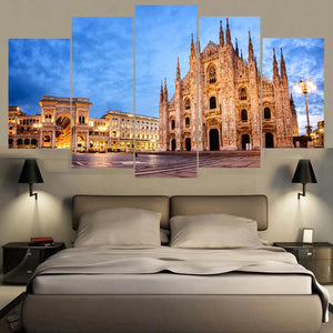 London Famous Church 5 Panels Wood N Canvas Wall Art Paintings