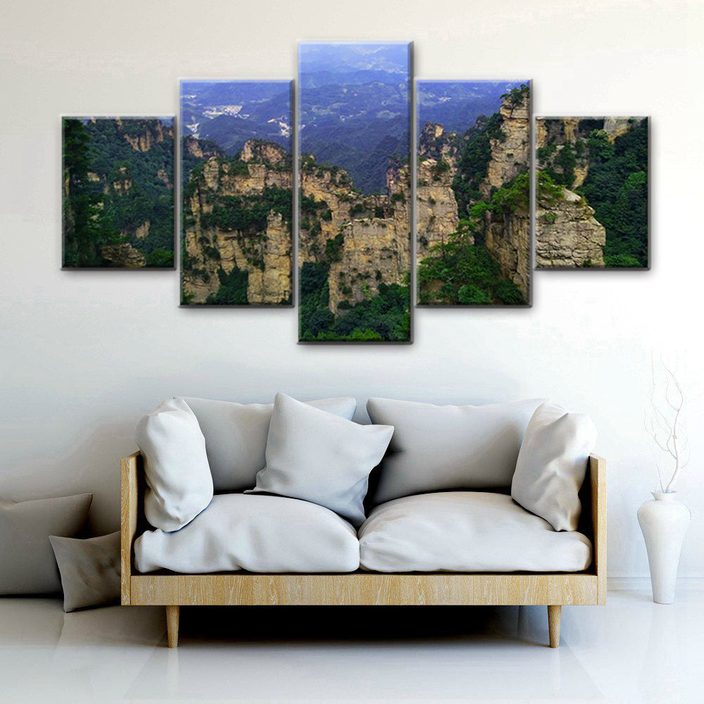 Long Stretches Of Mountains 5 Panels Wood N Canvas Wall Art Paintings