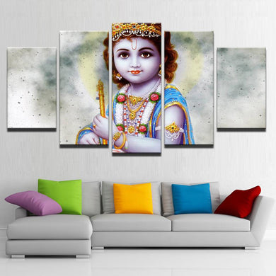 Lord Bala Krishna 5 Panels Wood N Canvas Wall Art Paintings