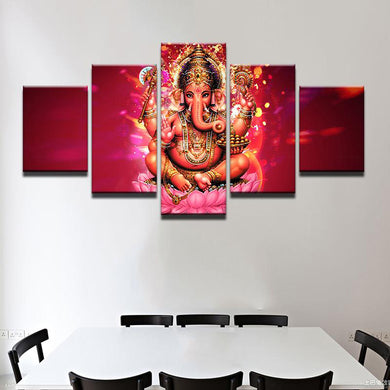Lord Ganesh - Pink 5 Panels Wood N Canvas Wall Art Paintings