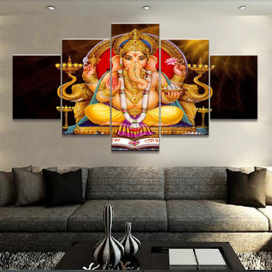 Lord Ganesh Meditation 5 Panels Wood N Canvas Wall Art Paintings