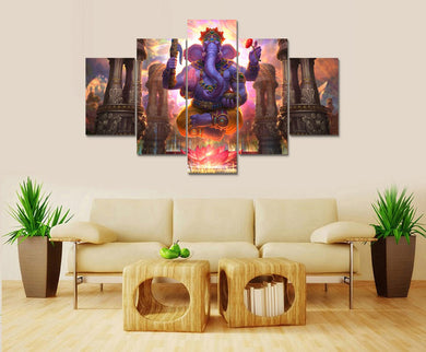 Lord Ganesha HD 5 Panels Wood N Canvas Wall Art Paintings