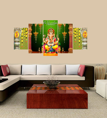 Lord Ganesha yellow 5 Panels Wood N Canvas Wall Art Paintings