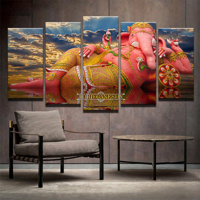 Lord Ganesh in the Sky 5 Panels Wood N Canvas Wall Art Paintings