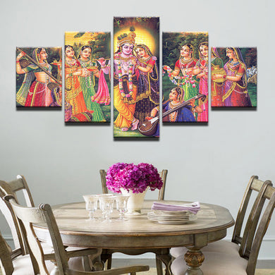 Lord Krishna 5 Panels Wood N Canvas Wall Art Paintings