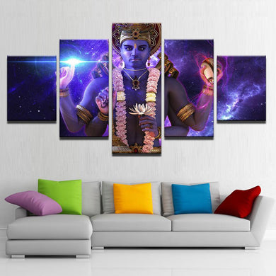 Lord Vishnu 5 Panels Wood N Canvas Wall Art Paintings