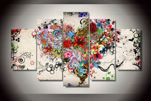 Load image into Gallery viewer, Love Floral 5 Panels Wood N Canvas Wall Art Paintings