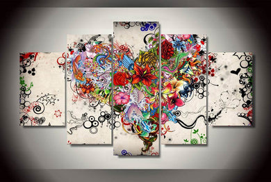 Love Floral 5 Panels Wood N Canvas Wall Art Paintings