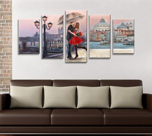 Love Witness with Red Rose Flower Giclee 5 Panels Wood N Canvas Wall Art Paintings