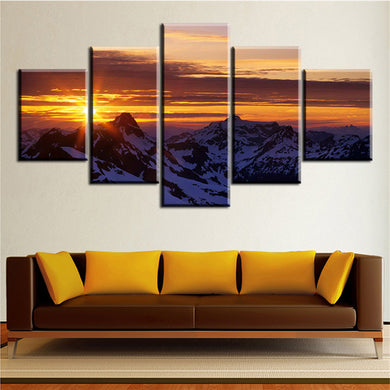 Magic-Mountain-Sunset 5 Panels Wood N Canvas Wall Art Paintings