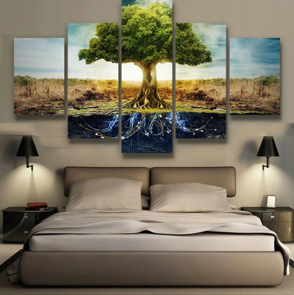 Magical Roots 5 Panels Wood N Canvas Wall Art Paintings