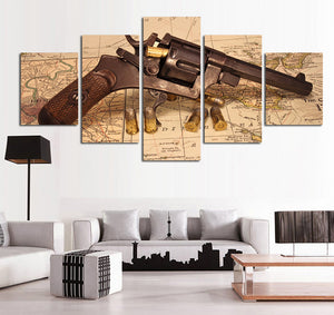 Map With Gun 5 Panels Wood N Canvas Wall Art Paintings
