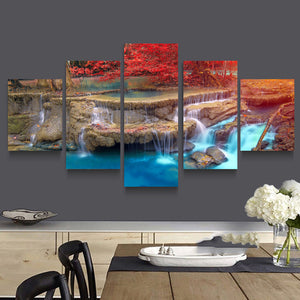 Maple Trees Waterfall 5 Panels Wood N Canvas Wall Art Paintings