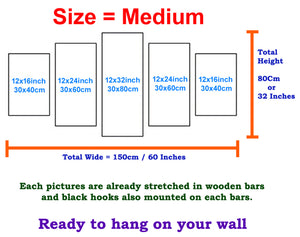 Clock 5 Panels Wood N Canvas Wall Art Paintings
