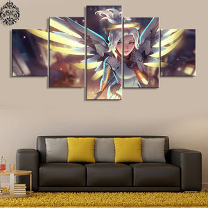 Mercy Game 5 Panels Wood N Canvas Wall Art Paintings