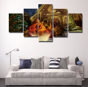 Merry Christmas Scene 5 Panels Wood N Canvas Wall Art Paintings
