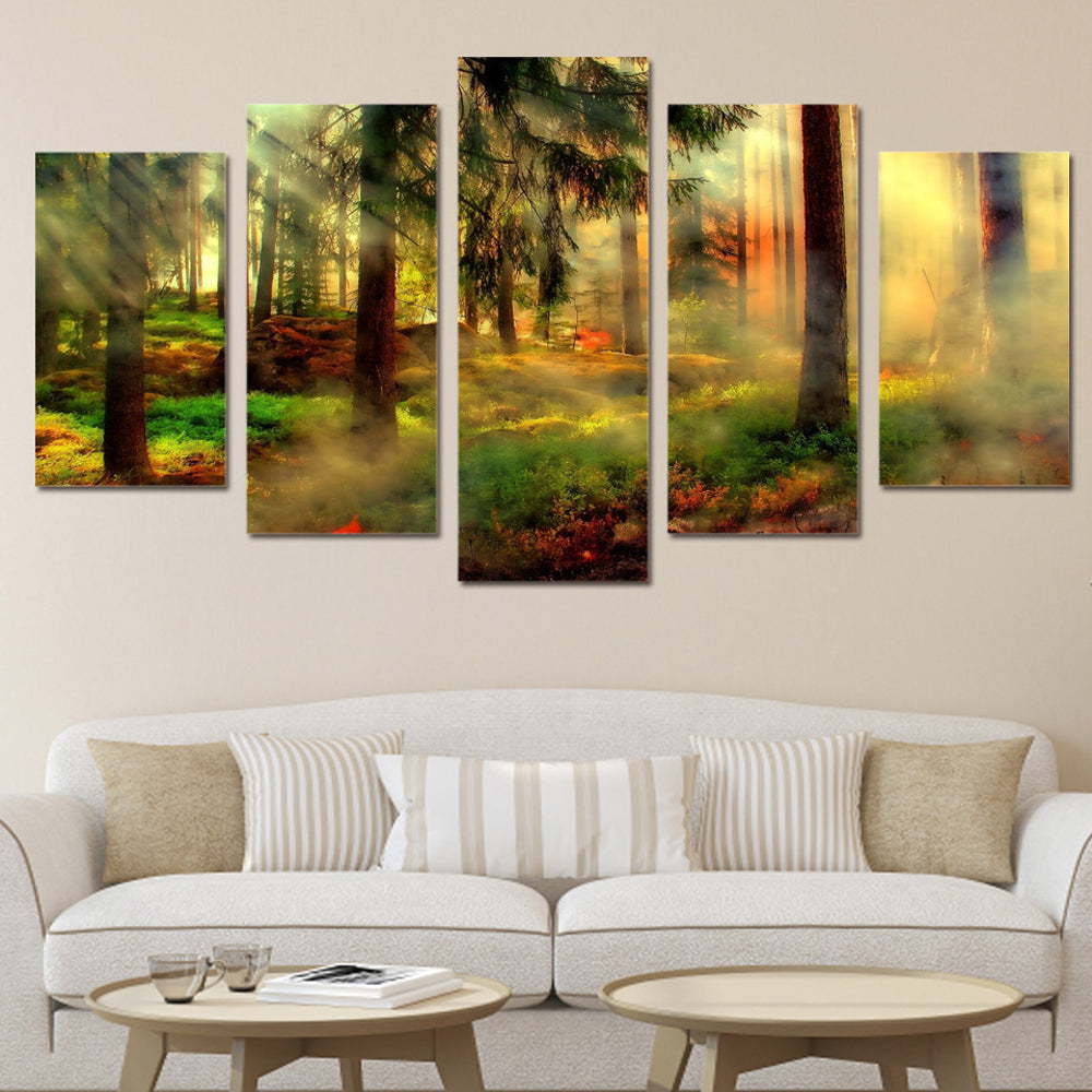 Misty Forest Fire 5 Panels Wood N Canvas Wall Art Paintings